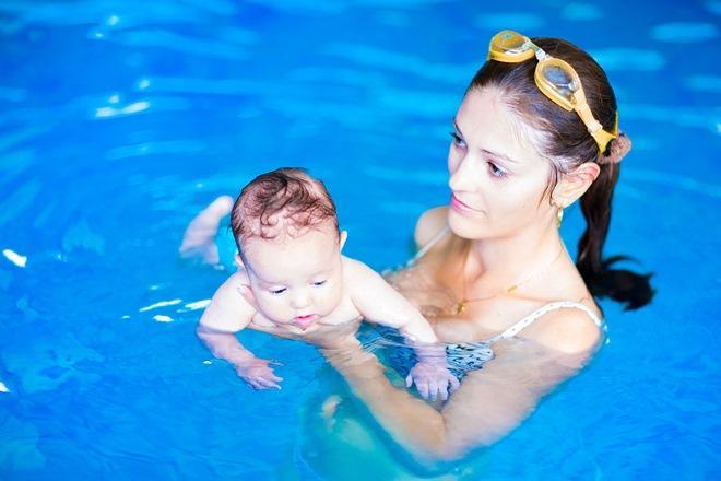 Упражнения грудничкового плавания