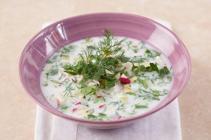Суп с кефиром и редисом