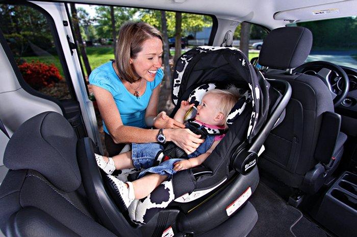 мама пристегивает малыша ремнями безопасности