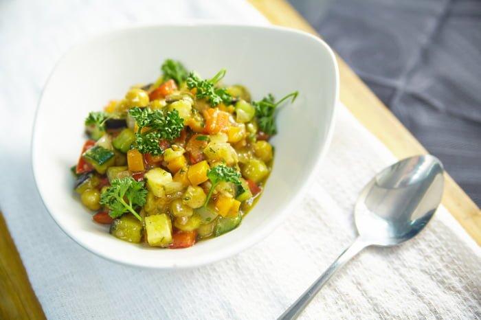 тушеные овощи с нутом