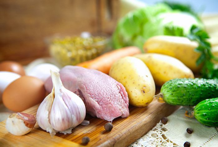 ингредиенты для оливье при грудном вскармливании