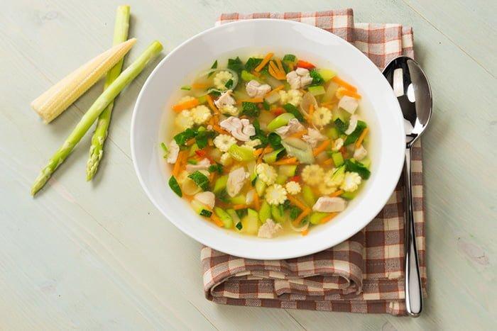 суп с овощами и мясом