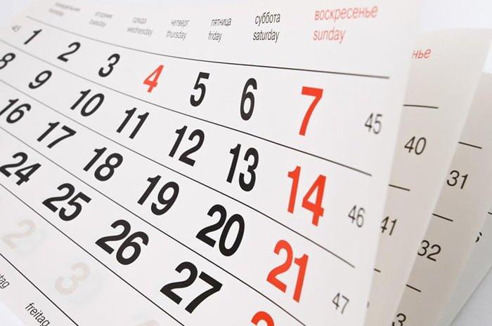 календарь с датами недель