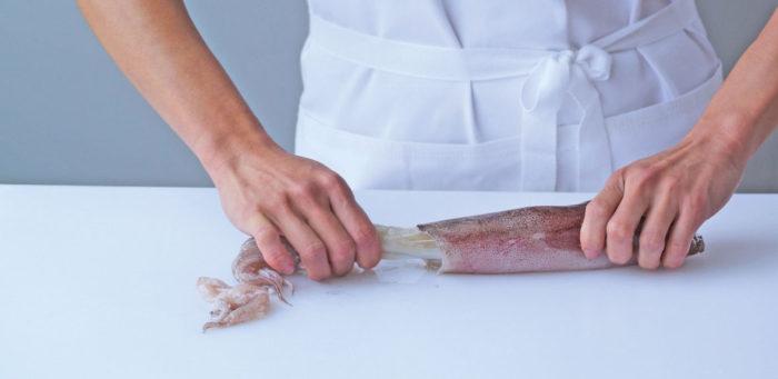 Приготовление кальмара